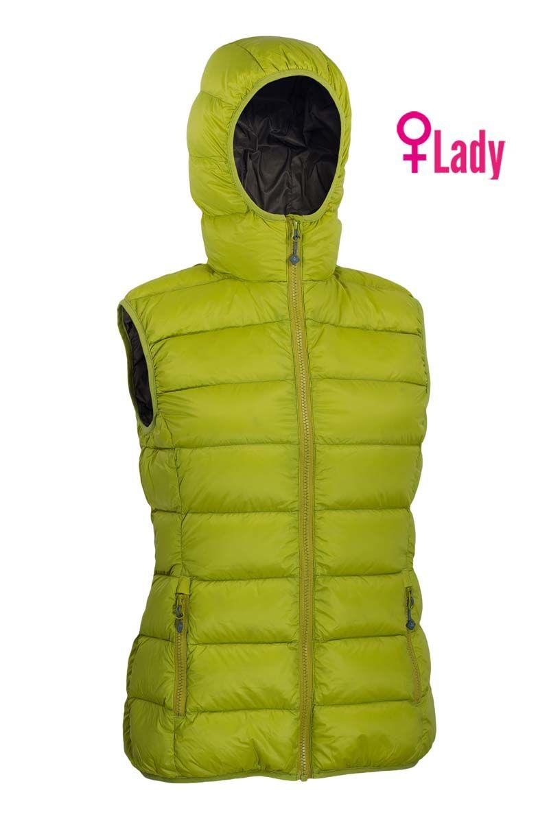 Warmpeace Yuba lady mustard/brown dámská péřová vesta