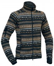Warmpeace Bergen navy bunda z fleecového materiálu se svetrovým vzorem